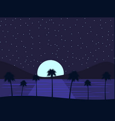 night landscape with palm trees and sea vector image