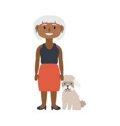 Old afro woman with dog pet avatar character vector