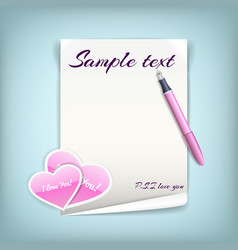 Paper with hearts vector