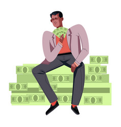 Person wearing rich clothes sitting on pile of vector