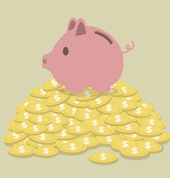 Pig shaped money box standing on golden coins vector