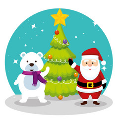 pine tree with santa claus and snow bear vector image