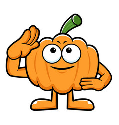 Pumpkin character military salute halloween day vector