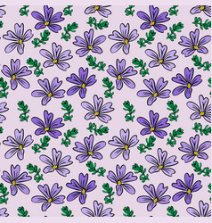 Purple flower and green twig on light lilac vector