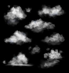 realistic cloud fog white clouds collection vector image
