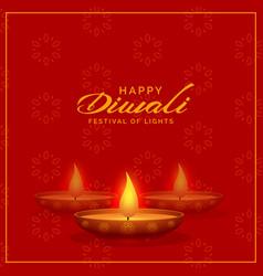 Red background with diwali diya design vector
