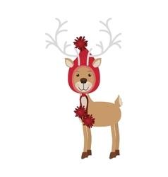 Reindeer with christmas woolen hat shape hood vector
