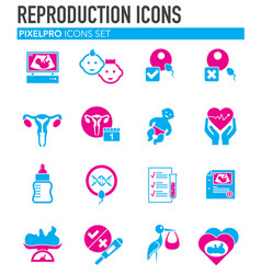 Reproduction related icons set on background for vector