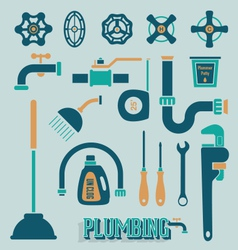 Retro Plumbing Icons and Symbols vector image