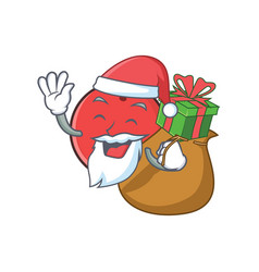 Santa bowling ball character cartoon with gift vector