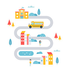 school transport service in town countryside or vector image