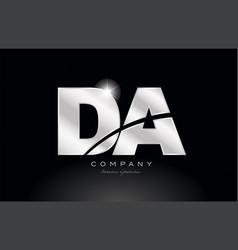 Silver letter da d a metal combination alphabet vector