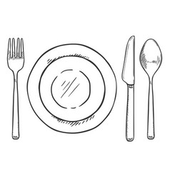 sketch dining set - fork knife spoon and plates vector image