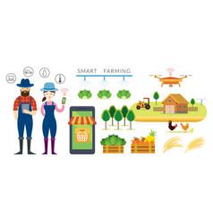 Smart farmer and farming concept vector