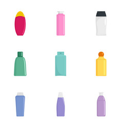 spa cosmetic bottle icon set flat style vector image