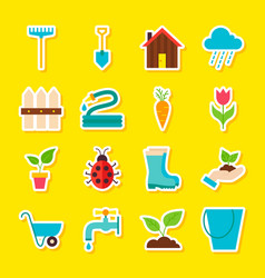 Spring gardening stickers vector
