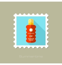 Sun Cream in Spray flat stamp with long shadow vector image