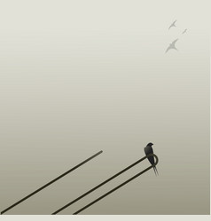 Swallow perched on an antenna and other swallows vector