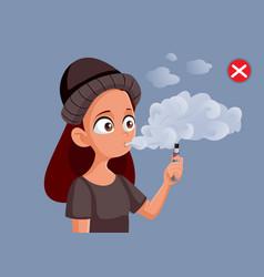 Teenage girl with vaping addiction vector