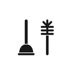 toilet plunger with brush bathroom clean vector image