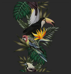 tropical bird leaves and flowers seamless black vector image
