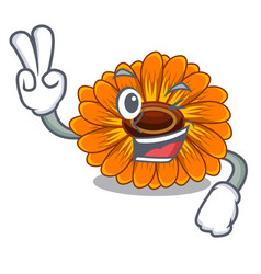 Two finger calendula flowers in a cartoon basket vector