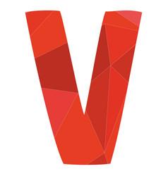 V red alphabet letter isolated on white background vector