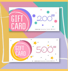 Voucher template with color gift boxcertificate vector
