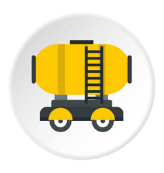 Waggon storage tank with oil icon circle vector