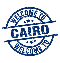 welcome to cairo blue stamp vector image