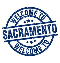 Welcome to sacramento blue stamp vector
