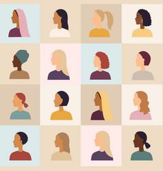 Women different nationalities banner vector