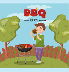young man cooking and eating barbecue on the vector image vector image