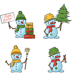 christmas cartoon snowmen with tree xmas vector image