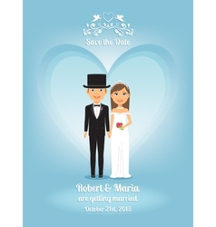 Cute cartoon bride and groom on wedding invitation vector image