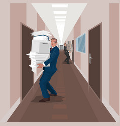 employees carry documents between offices vector image vector image