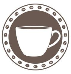 Vintage cup of coffee label vector image vector image