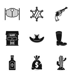 american cowboy icon set simple style vector image