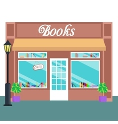 Book shop and store building front flat style vector image