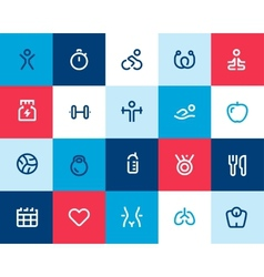 Fitness icons set Flat vector image vector image