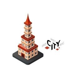 Isometric chinatown icon building city vector image vector image