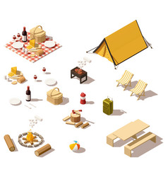 isometric low poly camping equipment vector image