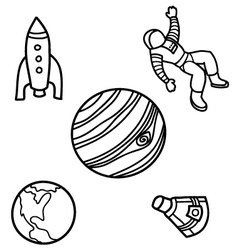 Outer Space Doodles vector image