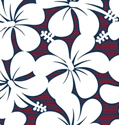 Red white and blue hibiscus lines seamless pattern vector image vector image