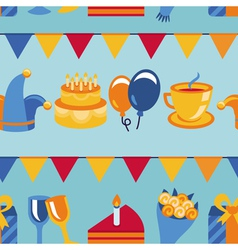 seamless pattern with party icons and signs vector image vector image