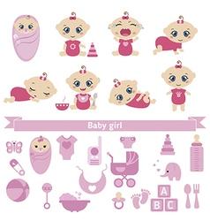 Set of cute baby girls vector