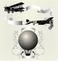 Airplane with ribbon vector image vector image