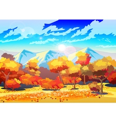 Autumn forest in the sun vector image vector image