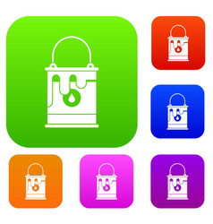 Bucket with paint set collection vector