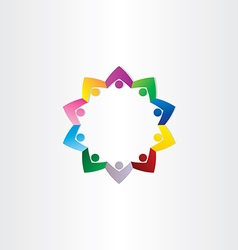 circle people teamwork star icon vector image